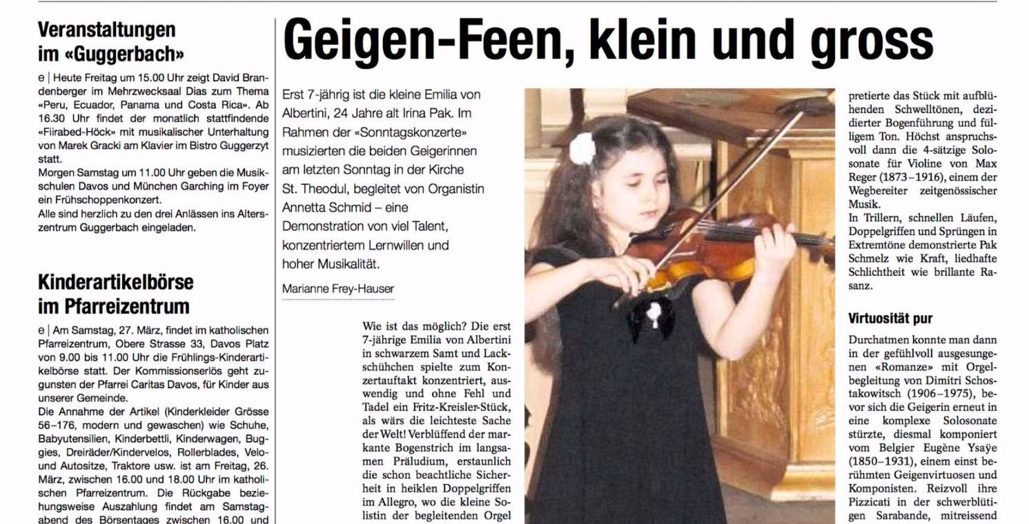 """Violin fairies, small and grown up"" Davos Newspaper"